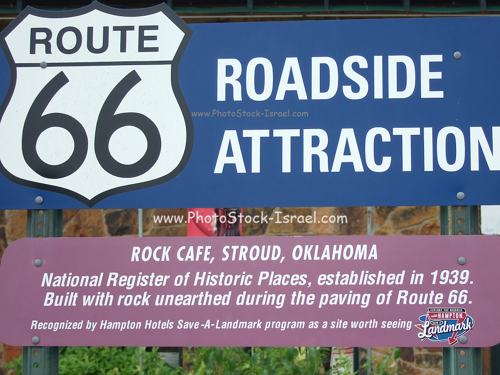 USA, Oklahoma, Stroud, Rock Cafe on Historic Route 66 Established 1939 built with rock unearthed during the construction of Route 66.