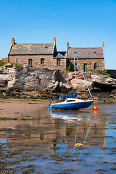 View of cottages at. historic harbour at Cove near Cockburnspath in Berwickshire , Scottish Borders, Scotland ,UK - Editorial Use Only _