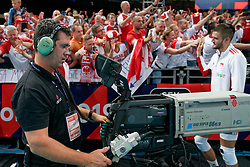 23-09-2019 NED: EC Volleyball 2019 Poland - Germany, Apeldoorn<br /> 1/4 final EC Volleyball Poland win 3-0 / Camera TV Press Peter