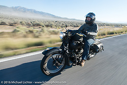 Motorcycle Cannonball organizer Lonnie Isam Jr rides along during stage 12 (299 m) of the Motorcycle Cannonball Cross-Country Endurance Run, which on this day ran from Springville, UT to Elko, NV, USA. Wednesday, September 17, 2014.  Photography ©2014 Michael Lichter.