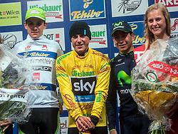 08.07.2014, Kitzbühel, AUT, 66. Österreich Radrundfahrt, 3. Etappe, Bad Ischl auf das Kitzbühler Horn, im Bild Patrick Konrad, (AUT), bester Österreicher, Pete Kennagh, (GBR), 1. Gesamtwertung, Dayer Qintana (COL), Etappensieger // during the 66th Tour of Austria, Stage 3, from Bad Ischl to the Kitzbühler Horn, Kitzbühel, Austria on 2014/07/08. EXPA Pictures © 2014, PhotoCredit: EXPA/ Reinhard Eisenbauer