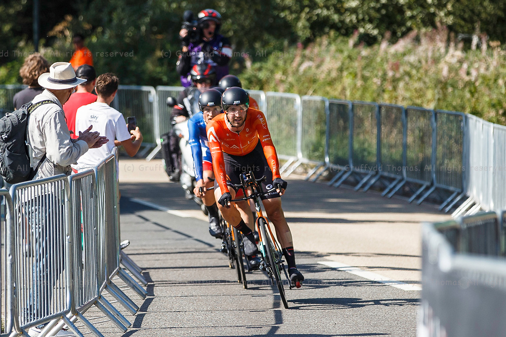 National Botanic Garden of Wales, Llanarthne, Wales, UK. Tuesday 7 September 2021.  Stage 3 of the Tour of Britain cycling race. The Rally Cycling team near the end of the time trial.<br /> Credit: Gruffydd Thomas/Alamy