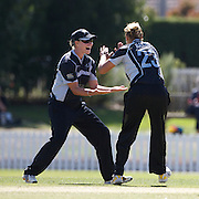 Suzie Bates is congratulated by team mate Aimee Mason after bowling Charlize van der Westhuizen first ball  during the South Africa  V New Zealand group A match at Bradman Oval in the ICC Women's World Cup Cricket Tournament, in Bowral, Australia on March 12, 2009. New Zealand won the match by 199 runs. Photo Tim Clayton