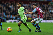 Raheem Sterling of Manchester city goes past Jordan Veretout of Aston Villa (r). Barclays Premier league match, Aston Villa v Manchester city at Villa Park in Birmingham, Midlands  on Sunday 8th November 2015.<br /> pic by  Andrew Orchard, Andrew Orchard sports photography.