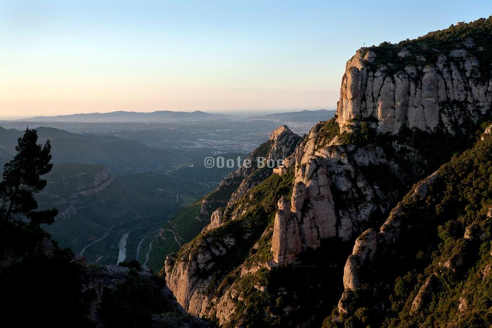 view toward Barcelona from Montserrat Spain during sunrise