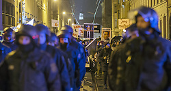 11.01.2016, Innenstadt Leipzig, Leipzig, GER, Kundgebung der Legida zum ersten Jahrestag, im Bild Polizisten gehen vor den Anhaengern der Legida bei der Kundgebung der Legida zum ersten Jahrestag // demonstration of Leipzig' s Europeans against the Islamization of the West (LEGIDA), a group linked with the PEGIDA movement, in Innenstadt Leipzig in Leipzig, Germany on 2016/01/11. EXPA Pictures © 2016, PhotoCredit: EXPA/ Eibner-Pressefoto/ Hommes<br /> <br /> *****ATTENTION - OUT of GER*****