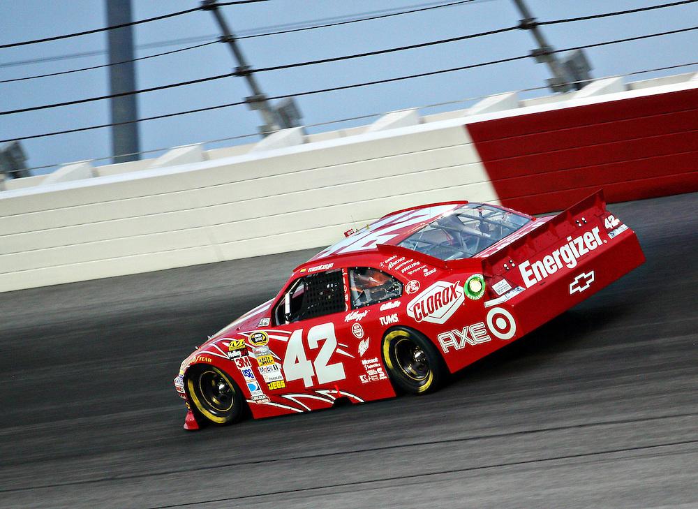 May 12, 2012; Darlington, SC, USA; NASCAR Sprint Cup driver Juan Pablo Montoya (42) during the Southern 500 at Darlington Raceway. Mandatory Credit: Peter Casey-US PRESSWIRE.