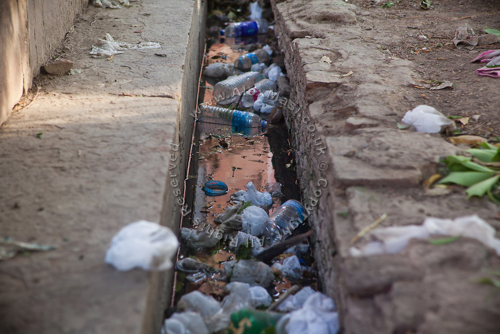 Plastic bottles have been dumped inside the main complex of the Taj Mahal, in Agra.