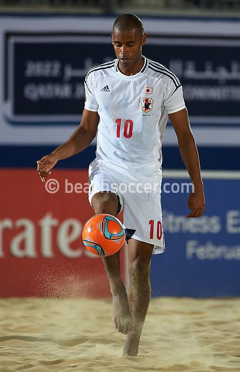 DOHA, QATAR - JANUARY 25: Moreira Ozu of Japan controls the ball during the FIFA Beach Soccer World Cup 2013 Qualifier Qatar at Katara Beach on January 25, 2013 in Doha, Qatar. (Photo by Manuel Queimadelos)