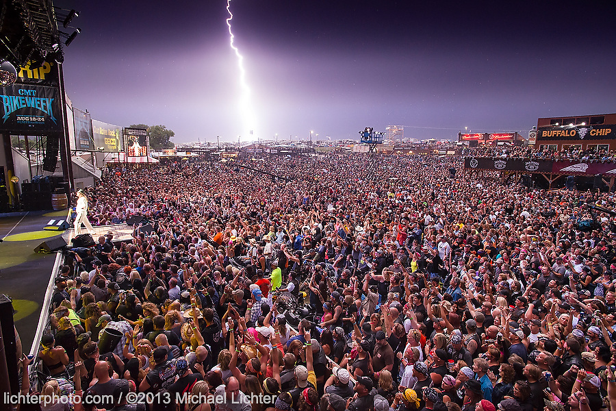 Lightning Strikes. Kid Rock plays the Buffalo Chip. Sturgis, SD. 2013<br /> <br /> Limited Edition Print from an edition of 30. Photo ©2013 Michael Lichter.