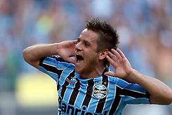 Ramiro comemora seu gol na partida contra o Internacional válida pelo GRENAL 403 na Arena do Gremio, em Porto Alegre. FOTO: Jefferson Bernardes/ Agência Preview