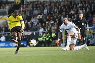 Burton Albion's Marvin Sordell scores the Brewers first goal during the EFL Sky Bet Championship match between Burton Albion and Leeds United at the Pirelli Stadium, Burton upon Trent, England on 22 April 2017. Photo by John Potts.
