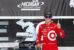 August 13, 2017 - Brooklyn, Michigan, United States of America - August 13, 2017 - Brooklyn, Michigan, USA: Kyle Larson (42) takes photos after winning the Pure Michigan 400 at Michigan International Speedway in Brooklyn, Michigan. (Credit Image: © Justin R. Noe Asp Inc/ASP via ZUMA Wire)