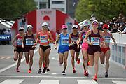 The start of the women's race during the Marathon Grand Championship, Sunday Sept. 15 2019, in Tokyo. From left: Ayuko Suzuki, Yuka Ando, Reia Iwade, Keiko Nogami, Kayoko Fukushi, Honami Maeda, Mao Ichiyama and Mizuki Matsuda. Maeda won in 2:25:15.  (Agence SHOT/Image of Sport)