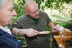 Ranger at Bestwood Country Park, Nottinghamshire, part of Sherwood Forest, demonstrating use of pole lathe to turn green ie unseasoned wood: this craft was known as bodging.
