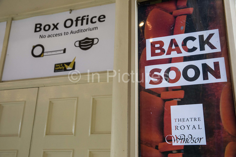 A sign indicates that the Theatre Royal Windsor is closed on the second day of England's second coronavirus lockdown on 6 November 2020 in Windsor, United Kingdom. All leisure and entertainment venues, ranging from sports facilities to theatres, cinemas and museums, have closed during the second lockdown.