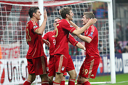 02.11.2011, Allianz Arena, Muenchen, GER, UEFA CL, FC Bayern Muenchen vs. SSC Neapel, im Bild Jubel nach dem Tor zum 2-0 durch Mario Gomez (Bayern #33) mit Thomas Mueller (Bayern #25) Toni Kroos (Bayern #39) Franck Ribery (Bayern #7)  // during the CL match  FC Bayern Muenchen (GER)  vs.  SSC Neapel  (ITA) Gruppe A, on 2011/11/02, Allianz Arena, Munich, Germany, EXPA Pictures © 2011, PhotoCredit: EXPA/ nph/  Straubmeier       ****** out of GER / CRO  / BEL ******