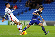 M K Dons Josh Murphy (l) challenges Cardiff City's Fabio Da Silva. Skybet football league championship match, Cardiff city v MK Dons at the Cardiff city stadium in Cardiff, South Wales on Saturday 6th February 2016.<br /> pic by Carl Robertson, Andrew Orchard sports photography.