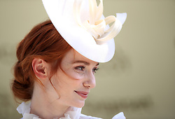Eleanor Tomlinson presents the trophy the Jersey Stakes during day two of Royal Ascot at Ascot Racecourse. PRESS ASSOCIATION Photo. Picture date: Wednesday June 21, 2017. See PA story RACING Ascot. Photo credit should read: John Walton/PA Wire. RESTRICTIONS: Use subject to restrictions. Editorial use only, no commercial or promotional use. No private sales