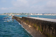 Sea wall or digue at the port of Saint-Jean-de-Luz, Basque Country, France