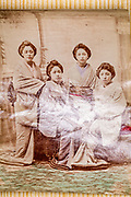 hand collored Geisha group portrait ca 1880s Japan
