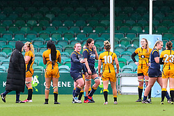 The teams congratulate one another after the final whistle - Mandatory by-line: Nick Browning/JMP - 24/10/2020 - RUGBY - Sixways Stadium - Worcester, England - Worcester Warriors Women v Wasps FC Ladies - Allianz Premier 15s