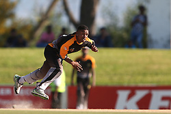 Ferisco Adams of Boland sends down a delivery during the Africa T20 cup pool D match between Boland and Gauteng held at the Boland Park cricket ground in Paarl on the 25th September 2016.<br /> <br /> Photo by: Shaun Roy/ RealTime Images