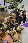 The Thales stand - The DSEI (Defence and Security Equipment International) exhibition at the Excel Centre, Docklands, London UK 15 Sept 2015