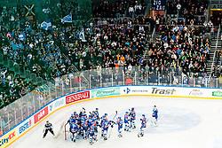 Team Medvescak Zagreb celebrate victory 2:0 during ice-hockey match between KHL Medvescak Zagreb and HK Acroni Jesenice in 39th Round of EBEL league, on Januar 8, 2012 at Arena Zagreb, Zagreb, Croatia. (Photo By Matic Klansek Velej / Sportida)