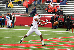 13 October 2012: A pass is overthrown to Andre Stubbs who is in the endzone during an NCAA football game between the Youngstown State Penguins and the Illinois State Redbirds.  The Redbirds won the game by a score of 35-28 at Hancock Stadium in Normal Illinois