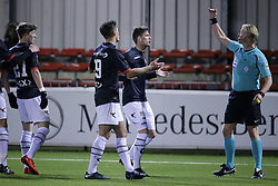 (L-R) Ole ter Haar of NEC, Sven Braken of NEC Nijmegen, Kevin Jansen of NEC Nijmegen, referee Kevin Blom during the Jupiler League match between Almere City FC and NEC Nijmegen at the Yanmar stadium on January 19, 2018 in Almere, The Netherlands