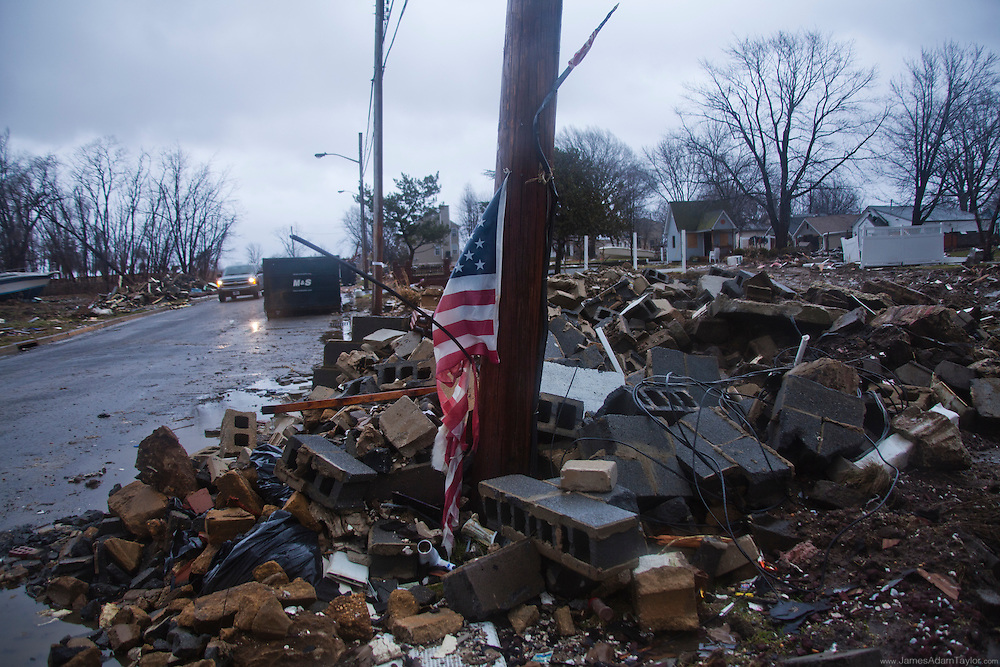 Rubble, and remnants of homes in one of the hardest hit neighborhoods of Union Beach.