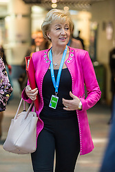 © Licensed to London News Pictures. 02/10/2018. Birmingham, UK. Andrea Leadsom at the Conservative Party Conference this morning ahead of Boris Johnson's arrival later today. Conservative party conference being held at the International Convention Centre in Birmingham. Photo credit: Andrew McCaren/LNP