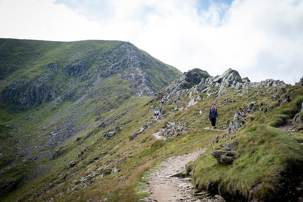 Walkers making their way along Swirral Edge between Helvellyn and Catstye Cam. The Lake District, Cumbria, United Kingdom on the 2nd of August 2021. (photo by Andrew Aitchison / In pictures via Getty Images)