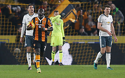 Hull City's Oumar Niasse celebrates scoring his sides second goal during the EFL Cup Semi Final, Second Leg match at the KCOM Stadium, Hull.