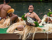 """A dance of Fiji in the Canoe Pageant, """"Rainbows of Paradise."""" The Polynesian Cultural Center (PCC) is a major theme park and living museum, in Laie on the northeast coast (Windward Side) of the island of Oahu, Hawaii, USA. The PCC first opened in 1963 as a way for students at the adjacent Church College of Hawaii (now Brigham Young University Hawaii) to earn money for their education and as a means to preserve and portray the cultures of the people of Polynesia. Performers demonstrate Polynesian arts and crafts within simulated tropical villages, covering Hawaii, Aotearoa (New Zealand), Fiji, Samoa, Tahiti, Tonga and the Marquesas Islands. The PCC is run by the Church of Jesus Christ of Latter-day Saints (LDS Church). For this photo's licensing options, please inquire."""