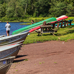 Benton, PA, USA - June 15, 2013: Boats at the lake in Ricketts Glen State Park in northern Pennsylvania.