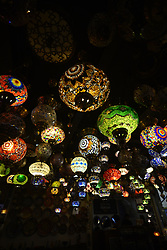 June 14, 2017 - Sao Paulo, Brazil - Ornate lamps lanterns inside The march 25 Grand Bazaar, São Paulo, great market in São Paulo, Brazil. The Turkish tradition in the glass business is recognized worldwide. It is not possible to tell whether they are the shapes, colors, textures or the careful work of fabrication that they conquer at first glance. Maybe the junction of everything and the chance to have a little piece of one of the most beautiful places in the world take our heart. (Credit Image: © Cris Faga/NurPhoto via ZUMA Press)