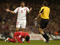 Fotball<br /> VM-kvalifisering<br /> Wales v Polen<br /> 13.10.2004<br /> Foto: BPI/Digitalsport<br /> NORWAY ONLY<br /> <br /> Wales v Poland. FIFA World Cup European Qualifying Group Six. Millenium Stadium. 13/10/2004.<br /> <br /> Radoslaw Kalvzny protests his inocance after a clash with Gary Speed