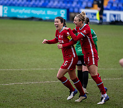 BIRKENHEAD, ENGLAND - Sunday, March 14, 2021: Liverpool's captain Niamh Fahey (L) celebrates with team-mate Rhiannon Roberts after scoring the fifth goal during the FA Women's Championship game between Liverpool FC Women and Coventry United Ladies FC at Prenton Park. Liverpool won 5-0. (Pic by David Rawcliffe/Propaganda)