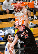 Academy of Art guard Victor Ruiz de Carranza (20) dunks during the PacWest Mens Basketball Championships in the Felix Event Center at Azusa Pacific University Thursday, Mar. 05, 2020, in Azusa. (Mandatory Credit: Darin Sicurello-Sports Shooter Academy)