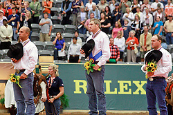 Individual Podium Reining 1. Mccutcheon Tom (USA) - Gunners Special Nite 2. Schmersal Craig (USA) - Mister Montana Nic 3. Latimer Duane (CAN) - Dun Playin Tag <br /> Alltech FEI World Equestrian Games <br /> Lexington - Kentucky 2010<br /> © Dirk Caremans