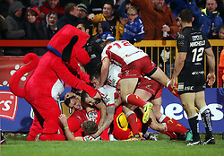 Hull KR's Jimmy Keinhorst (bottom of frame) celebrates scoring his side's winning try with team mates during the Betfred Super League match at Craven Park, Hull.