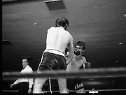 Nash vs Leon Championship Fight.    (N55)..1980..14.12.1980..12.14.1980..14th December 1980..At the Burlington Hotel, Dublin, Charlie Nash defended his European Lightweight Title when he took on Spain's Francesco Leon. .Nash connects with a left as Leon closes in.
