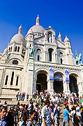 Crowds at Sacre-Coeur Basilica, Montmartre, Paris, France