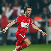Turkey's Gokhan GONUL celebrates his goal during their UEFA EURO 2012 Qualifying round Group A soccer match Turkey between Austria at Sukru Saracoglu stadium in Istanbul March 29, 2011. Photo by TURKPIX