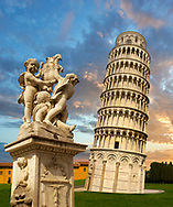 View of the Romanesque Leaning Tower of Pisa, the Bell tower at sunset, Piazza del Miracoli , Pisa, Italy .  The Leaning Tower of Pisa (torre pendente di Pisa) or simply the Tower of Pisa  is the campanile, or freestanding bell tower, of the cathedral of the Italian city of Pisa, known worldwide for its nearly four-degree lean, the result of an unstable foundation. The Leaning Tower of Pisa is situated behind the Pisa Cathedral and is the third-oldest structure in the city's Cathedral Square (Piazza del Duomo). The height of the Leaning Tower of Pisa is 55.86 metres (183.27 feet) from the ground on the low side and 56.67 metres (185.93 feet) on the high side. The width of the walls at the base is 2.44 m (8 ft 0.06 in). The Leaning Tower of Pisa has 296 or 294 steps; the seventh floor has two fewer steps on the north-facing staircase. The Leaning Tower of Pisa began to lean during construction in the 12th century, due to soft ground which could not properly support the structure's weight, and it worsened through the completion of construction in the 14th century. By 1990, the tilt of the tower had reached 5.5 degrees .<br /> <br /> Visit our ITALY HISTORIC PLACES PHOTO COLLECTION for more   photos of Italy to download or buy as prints https://funkystock.photoshelter.com/gallery-collection/2b-Pictures-Images-of-Italy-Photos-of-Italian-Historic-Landmark-Sites/C0000qxA2zGFjd_k<br /> .<br /> <br /> Visit our MEDIEVAL PHOTO COLLECTIONS for more   photos  to download or buy as prints https://funkystock.photoshelter.com/gallery-collection/Medieval-Middle-Ages-Historic-Places-Arcaeological-Sites-Pictures-Images-of/C0000B5ZA54_WD0s