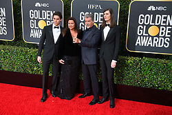 January 5, 2020, Beverly Hills, California, USA: PARIS BROSNAN, KEELY SHAY SMITH, PIERCE BROSNAN AND DYLAN BROSNAN during red carpet arrivals for the 77th Annual Golden Globe Awards, at The Beverly Hilton Hotel. (Credit Image: © Kevin Sullivan via ZUMA Wire)