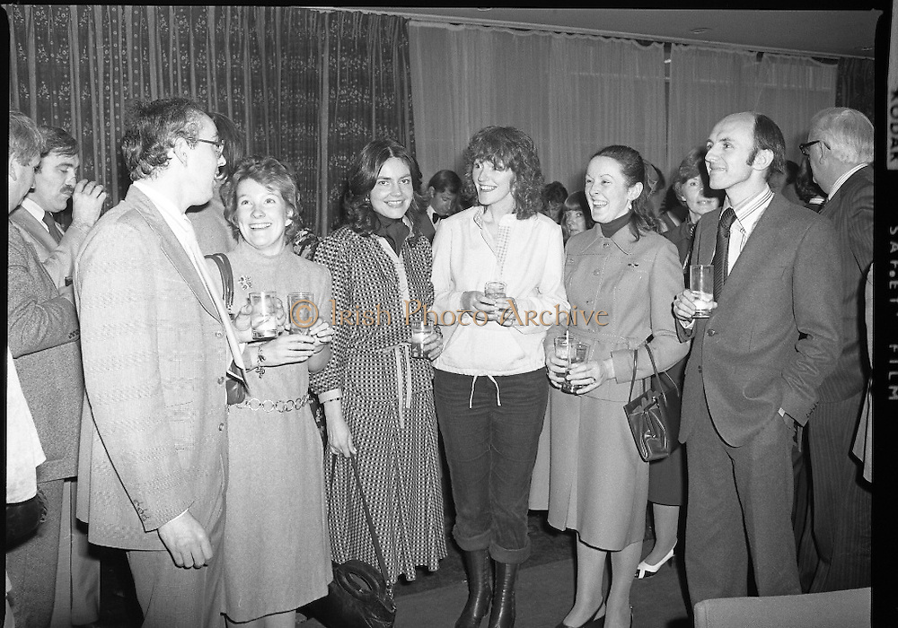 Accountants Lunch At Jurys Hotel.   (L57)..1977..14.12.1977..12.14.1977..!4th December 1977..Today saw the  holding of the Accountants Assoc Of Ireland's annual lunch. The guest speaker wasMrs Ib Jorgensen wife of the renowned designer Ib Jorgensen..Image shows Mr And Mrs Roger Dungan,Mary Ellen Deasy,Shiela Curran,Mary McGing and John Conrad who attended the lunch