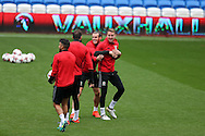 Gareth Bale of Wales © jokes around with Chris Gunter of Wales ®  during the Wales football team training at the Cardiff city Stadium in Cardiff , South Wales on Saturday 8th October 2016, the team are preparing for their FIFA World Cup qualifier home to Georgia tomorrow. pic by Andrew Orchard, Andrew Orchard sports photography